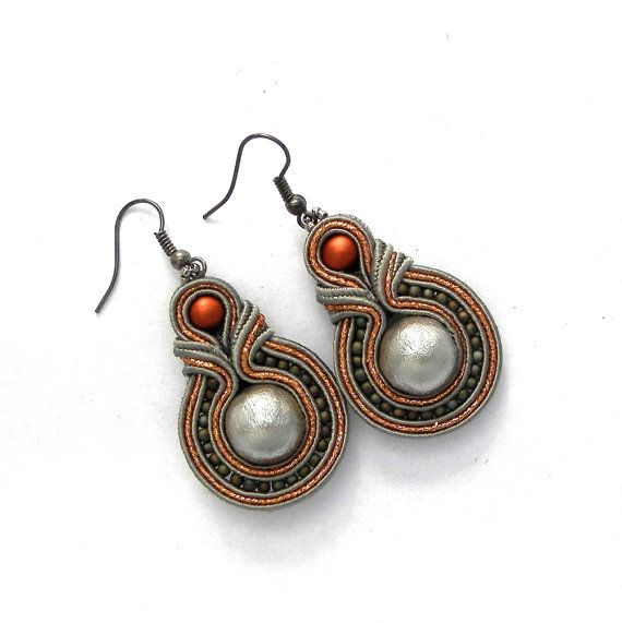 Soutache earrings, handmade, Jewelry, New earrings, Fashion Jewelry