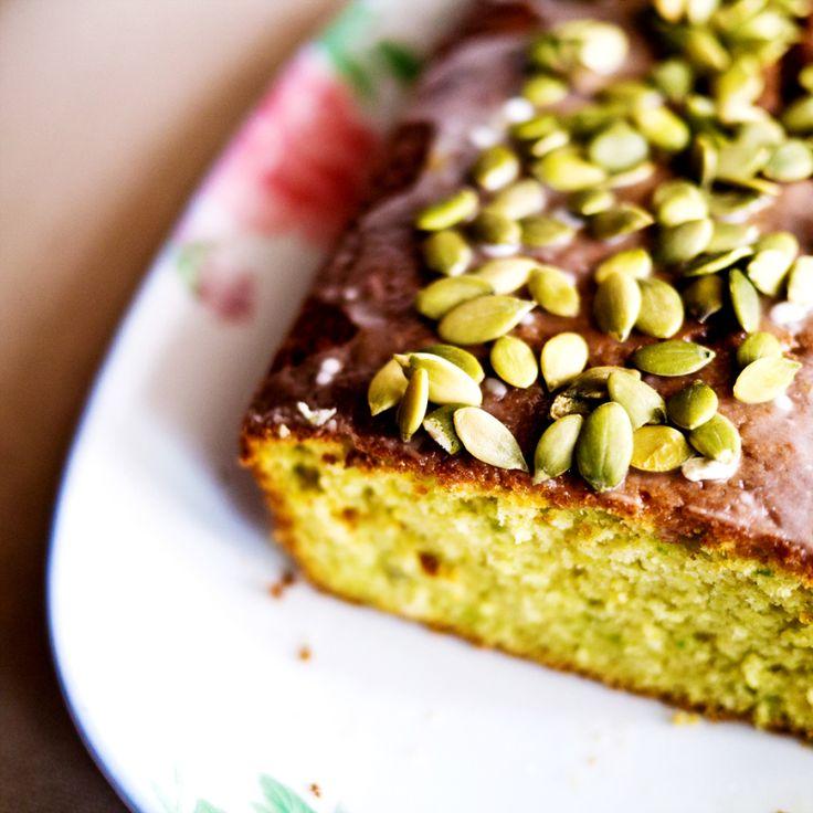 avocado loaf cake and a lime glaze