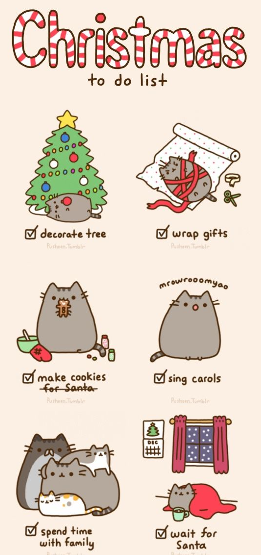Christmas To-Do List #ABeginnersGuideToChristmas #Christmas #Pusheen #Cute