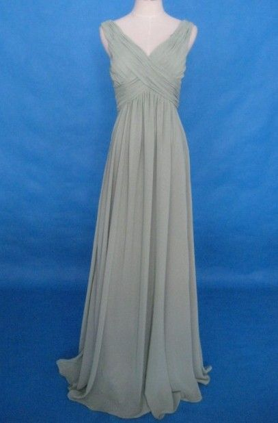 Gorgeous V-Neck Quality Chiffon Overlay Satin Empire Maternity Formal Cocktail Dress (LBWSM0176)