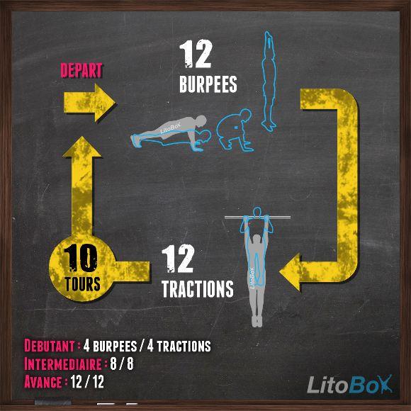 120 burpees et 120 tractions pour ce WOD officiel de CrossFit !  Vous n'avez pas de barre de traction ? Pas de problème, faites des pompes hindu ;)  Bon courage !  #litobox #crossfit
