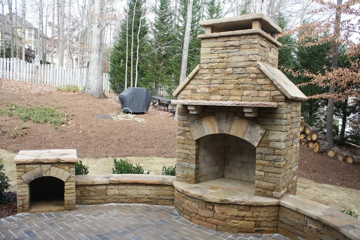 Outdoor Fireplace With Seating Wall And Wood Box