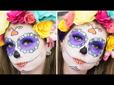 SUGAR SKULL MAKEUP TUTORIAL - Day of the Dead | Makeup, Glitter, Rhinestone Skull (Halloween)