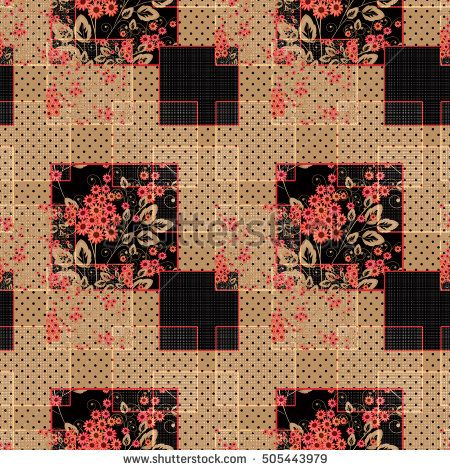 Patchwork abstract seamless floral, pattern texture light brown background with decorative elements.
