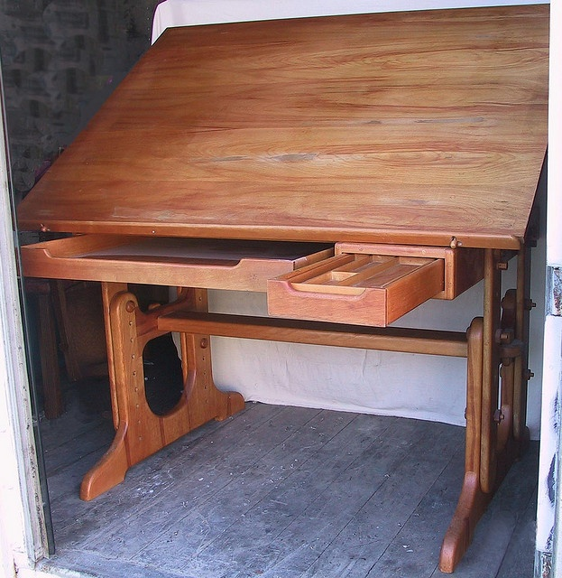 Custom Solid Wood Drafting Table Constructed In The Sam Maloof Syle. This  Vintage Table Is