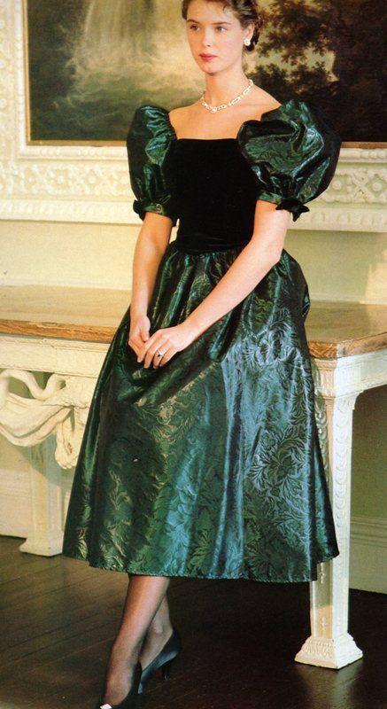 Laura Ashley bottle green velvet and embossed taffeta ...