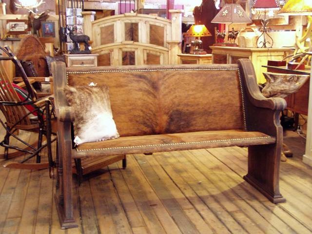 Church Pews with Cowhide Seat and Back. I want a pew so bad for my dining room farm table. it would make it complete