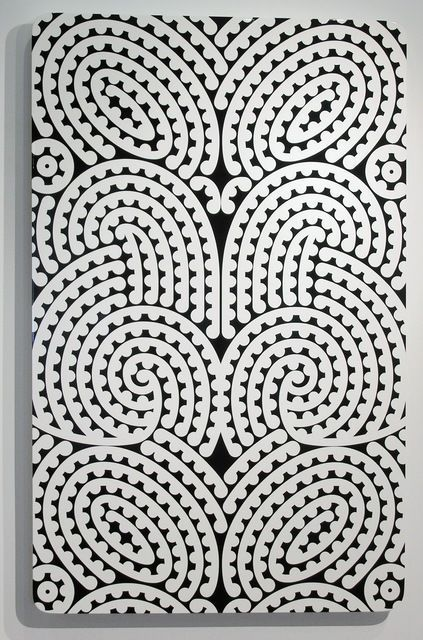 Te Hatete o te reo #12 (2010) by Ngatai Taepa, via Artsy | Fueled by a childhood fascination with New Zealand's indigenous Māori art, Ngatai Taepa is known for the incorporation of the culture's kowhaiwhai pattern within his paintings and installations. Taepa views the pattern, which values positive and negative space of equal importance, as a lesson in simplicity and a revival of the way his ancestors viewed the world. #pattern #painting