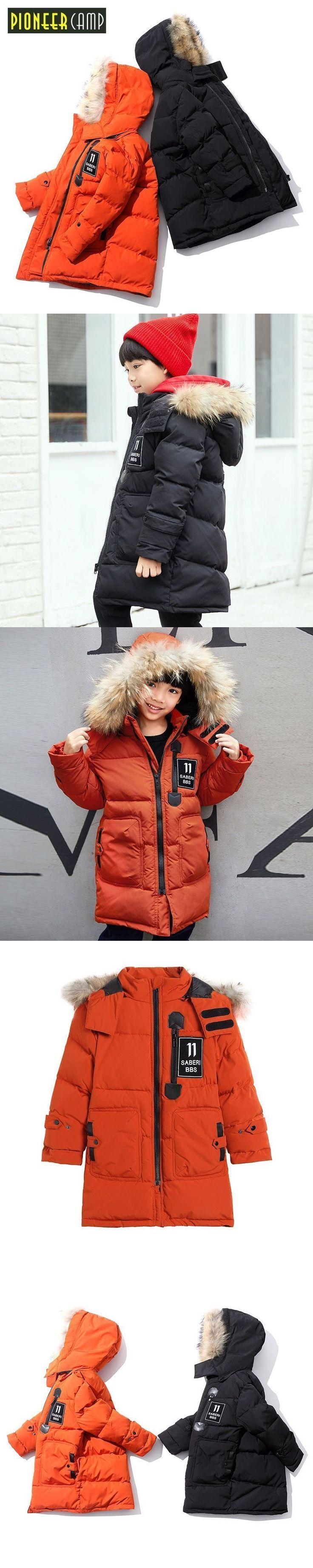 Pioneer Camp Kids Winter Children's Cotton Outerwear&Coats fur collar Boys winter jackets coats Warm baby boys Coat -30 Degrees #babyboycoats #babycoats #babyouterwear