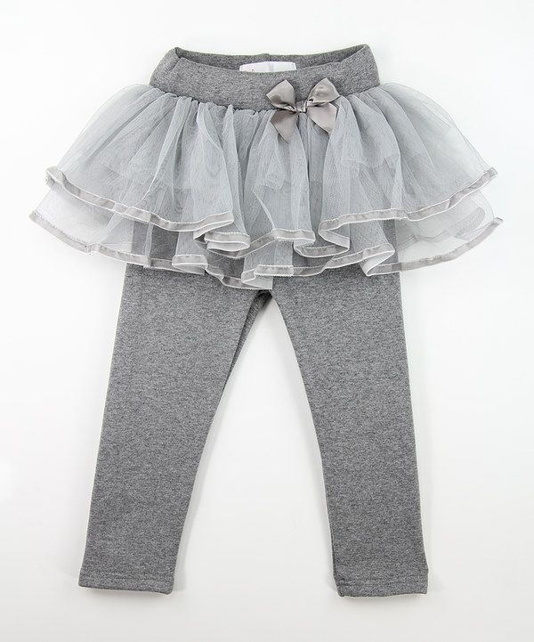Gray Lace Skirted Leggings - Toddler & Girls #zulily *love