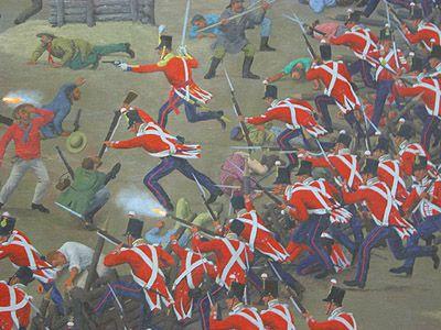 Je ziet een groep soldaten (rode jassen) op een groep mensen afrennen. Ze lijken losgeslagen, veel mensen worden vermoord. 2. De strijd word verbeeld doordat er heel veel soldaten worden weergegeven, herhaling. Ook creeert de maker choas door veel overlapping te gebruiken.