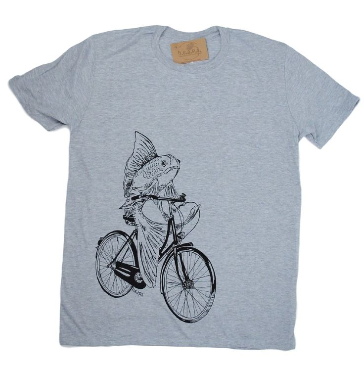 Cool Tshirts for Men - Hand Printed Fish on a Bike Grey Nautical Tees