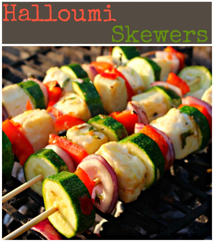 Your traditional skewers made even better by the gooey halloumi that melts as you cook them on the grill! // #halloumi #gooey #skewers