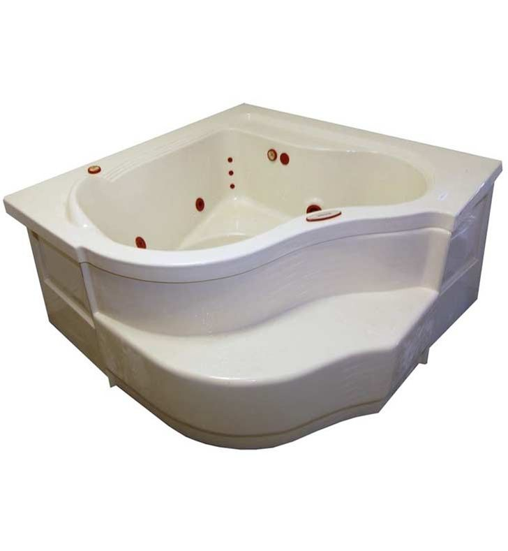 Features: Soaker Deep Corner Bath Tub Center Drain Water Capacity: 84  Gallons Acrylic Construction Dimensions: Overall Length   End To End: 60  Inches