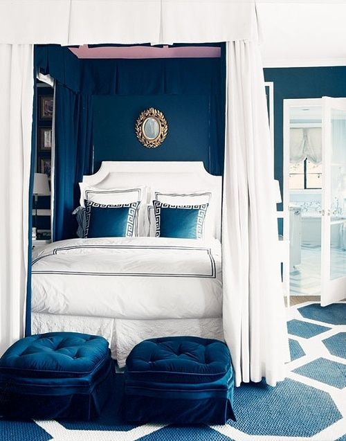 will never tire of this navy and white bedroom  @marymacdonaldinc
