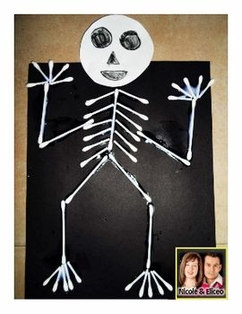 Fun q tip skeleton craft for elementary science for Q tip skeleton craft template