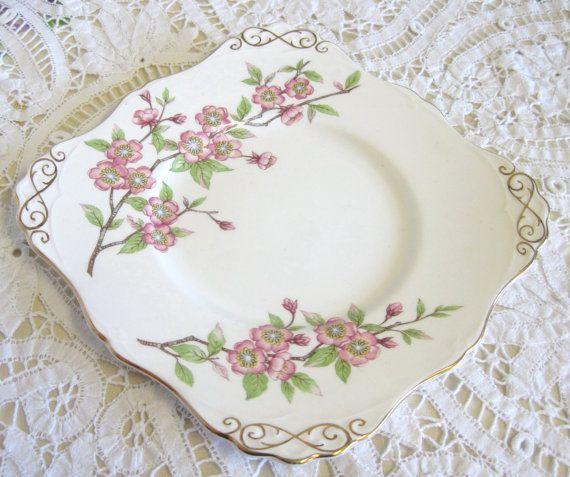 Vintage Cake Plate Tuscan China Springtime Pink by TheWhistlingMan