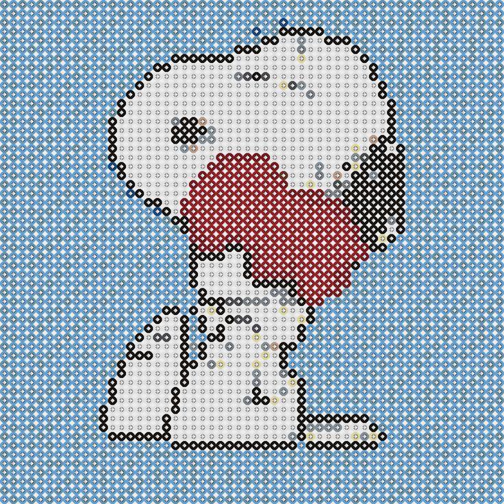 Plantillas Hama Beads - Snoopy corazón (Snoopy) www.tuburbuja.es
