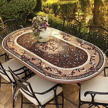 Our expressive and masterful Provence Mosaic Tabletops from Neille Olson's KNF boast iridescent waves of color, deep sophisticated hues, fresh designs and durability measured in decades. These qualities separate Olson's celebrated mosaic tabletops from the ordinary--giving each outdoor furniture piece its own unique character.