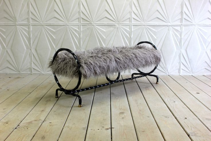 Antique Wrought Iron Brass Bench Twisted Hairpin Circle Rings Grey Faux Fur Mid Century Modern Atomic Sculptural MCM Window Seat by RetroSpecList on Etsy https://www.etsy.com/listing/450633394/antique-wrought-iron-brass-bench-twisted