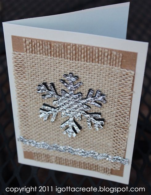 Nice Burlap Christmas Craft Ideas Part - 9: Amazing Card Features Burlap And Snowflakes Made Of Aluminum Foil.