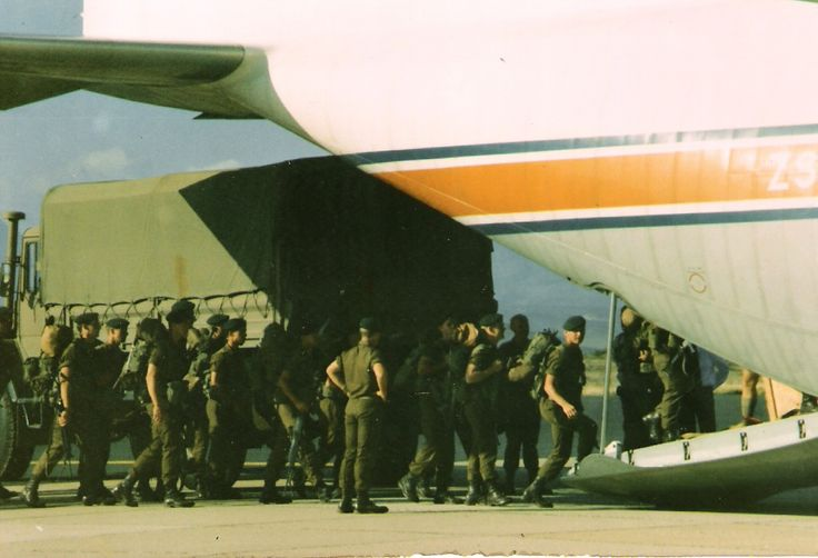 """Boarding the """"Flossie"""" for tour of duty to border - Infantry School 1984"""