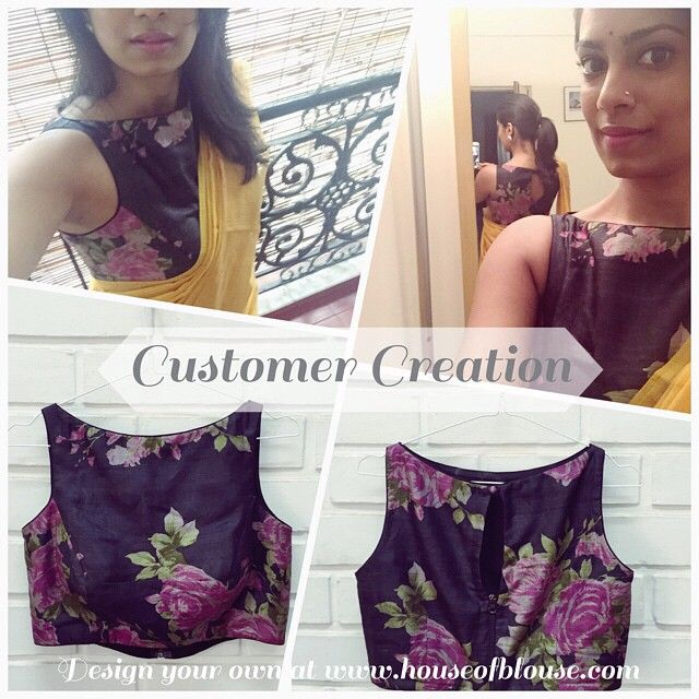 Love this version of the our much loved floral fabric as a boat neck crop top! versatile enough to pair with a saree or hi-waist skirt or pants! Design your own now on www.houseofblouse.com *Shipping worldwide* Whatsapp +91 81050 68601. #saree #blouse #bollywood #fashion #style #indianwear #floral #boatneck