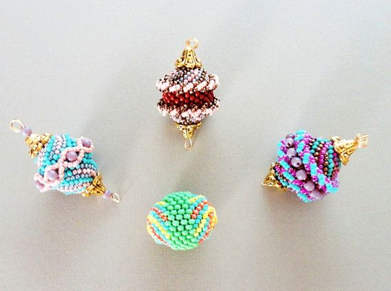 FOUR BEADED BEADS beading tutorial beadweaving by PeyoteBeadArt