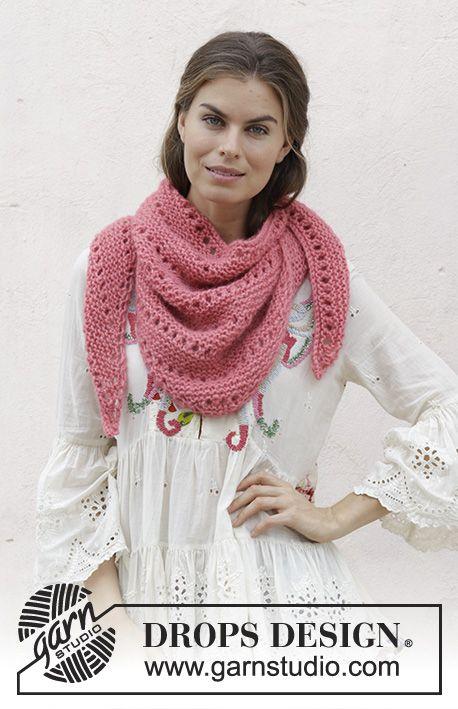 Prima Donna / DROPS 186-20 - Xaile tricotado com ponto jarreteira e renda, ...