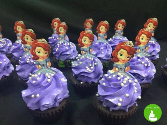 Give your little princess an adorable party with these Sophia the First cupcakes! :)