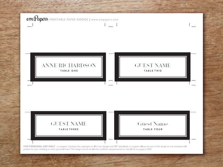 25 best printable place cards ideas on pinterest for Make your own wedding place cards