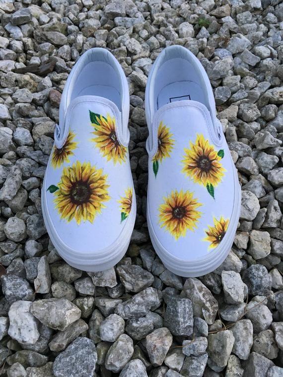 Benutzerdefinierte handbemalte Sonnenblume Vans Slip-On Schuhe