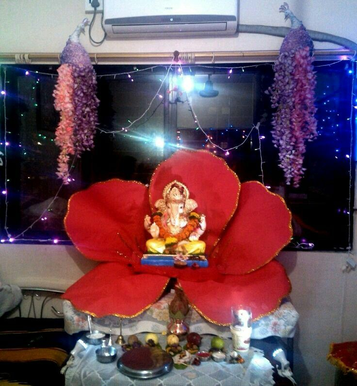 38 best images about ganpati decoration on pinterest for Aarti thali decoration with grains