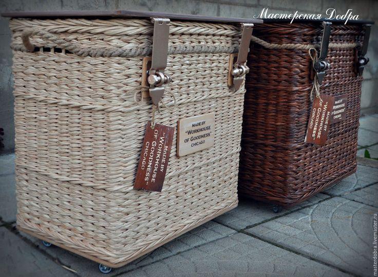 """Купить Тумбы прикроватные плетеные """"Любящая пара"""" - лофт, прикроватная тумбочка, сундук, сундук для хранения"""