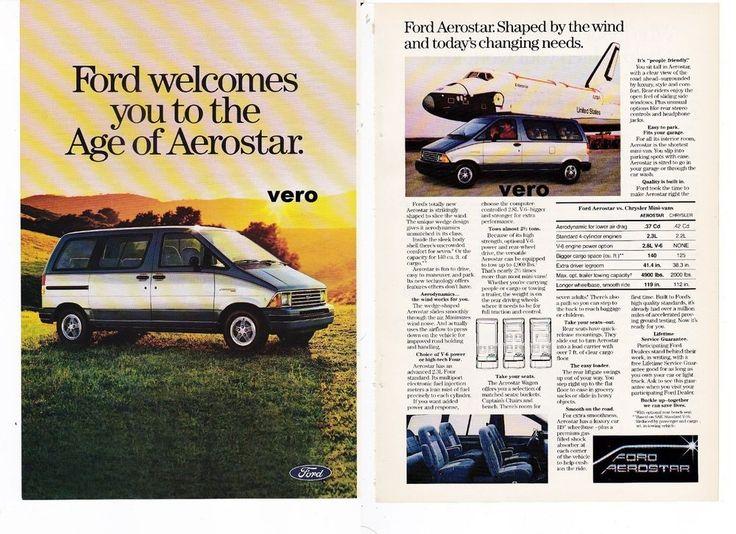 print ad FORD AEROSTAR car automobile 1986 Mini Van advert page vtg airplane