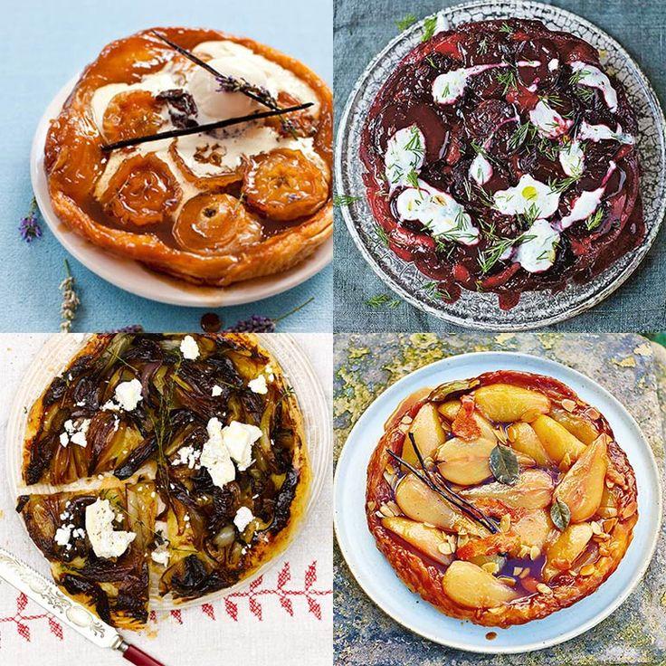 Tarte tatin, wat een goddelijke taart met zijn gekaramelliseerde, lichtelijk gebrandje randjes. Als even niemand kijkt, snoepen we het liefst een stukje van de kleverige korst af, omdat het zo lekker is! Op deze pagina vind je vijf recepten van tarte...