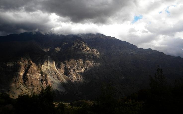 A beautiful mountainscape at Cajon del Maipo, Chile.