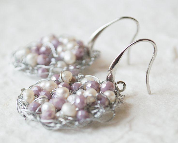 Dangle Drop Earring Handmade Wire Crochet Pearl Hoop Wedding Chandelier Earrings dangle earrings gold or silver gift for bridesmaids by UnikacreazioniShop on Etsy