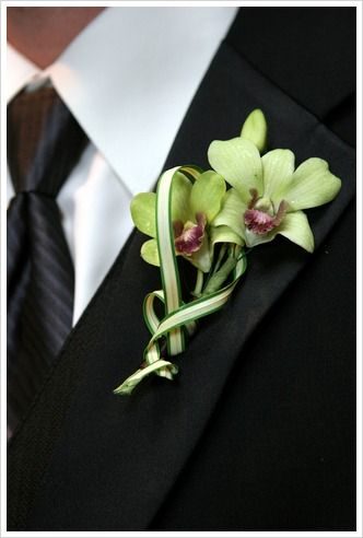 orchid boutonniere Green dendrobium orchids with beautiful curves of the china grass. #reverehotel