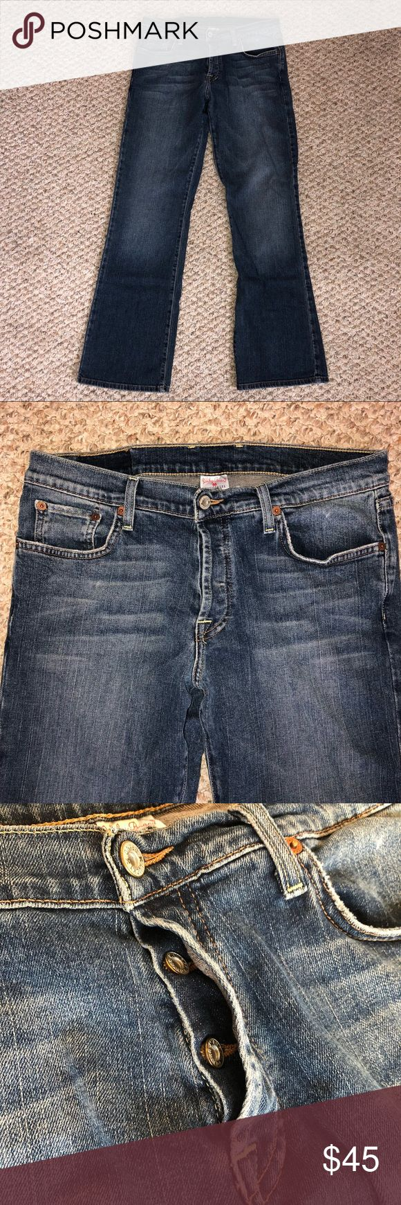 """Men's Lucky Brand 32 Dungarees Slim Bootleg Jeans 🍀 Very good used condition 🍀 Minimal wear/fraying to pocket edges & hems 🍀 Waist 32"""" 🍀 Rise 9-1/2"""" 🍀 Inseam 32"""" 🍀 Leg opening (hem) 19"""" around 🍀 Slim bootleg style 🍀 Light fading & whiskering on the front 🍀 Please ask any questions 🍀 Reasonable offers welcome 🍀 Thanks for visiting my closet! Lucky Brand Jeans Bootcut"""