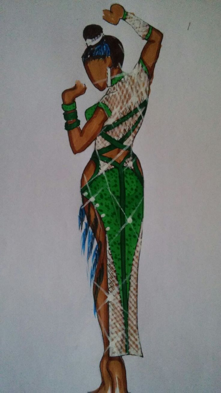 Green and white fishnet latin dress