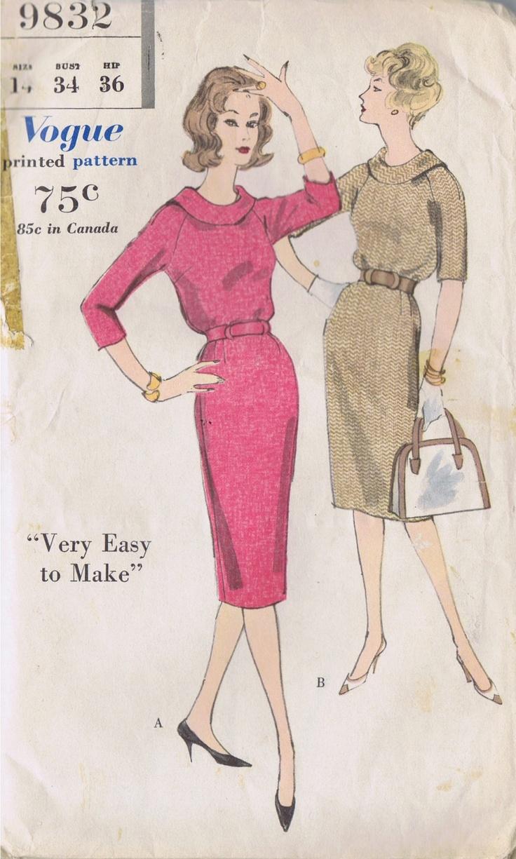 VINTAGE 1 PC DRESS SEWING PATTERN 1960s VOGUE 9832 SIZE 14 BUST 34 HIP 36 UNCUT | eBay