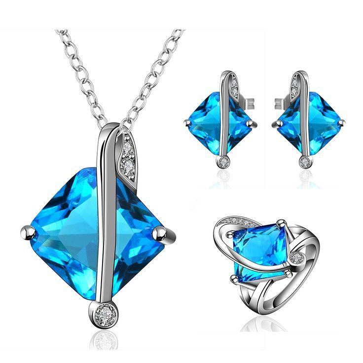 Нежный Большой циркон наборы, Подарок для подруги, Геометрическая площадь синий модные Серьги кольцо и ожерелье ювелирные изделия RS028купить в магазине Fshion Jewelry Wholesale StoreнаAliExpress