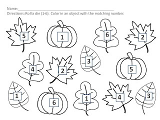 Fall FREEBIE!!! Math roll and color numbers 1-6 and 7-12.