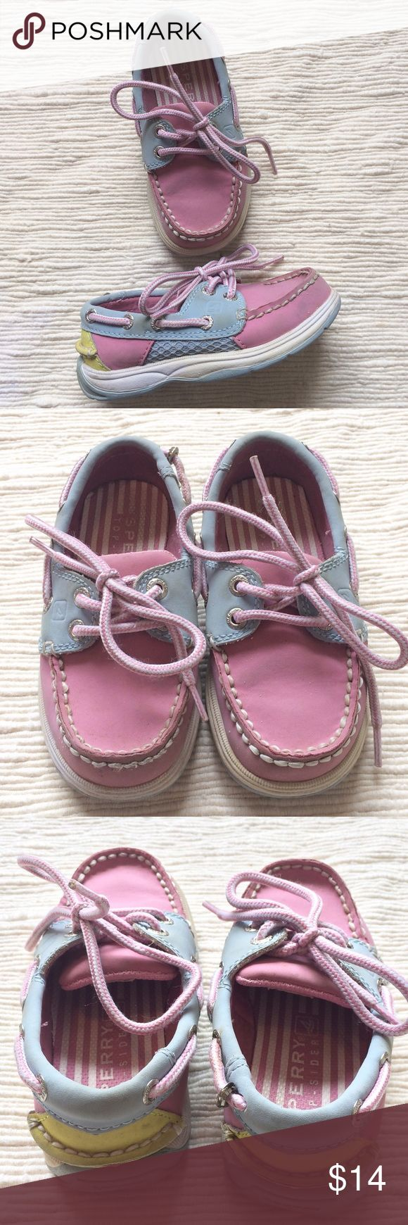 Little girls pastel Sperry boat shoes Pastel Sperry boat shoes with pink and white laces. Play condition due to some wear on the leather and one bracket has come out but can be popped back in. Soles have barely any wear. Check out my other listings for a custom bundle! Sperry Shoes