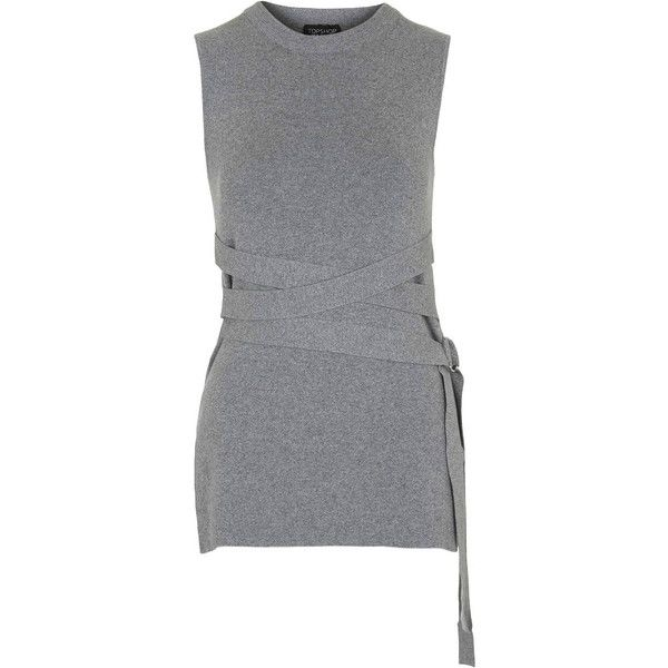 TopShop D-Ring Wrap Tank (15.075 HUF) ❤ liked on Polyvore featuring tops, grey marl, ribbed tank top, wrap tank top, gray tank, high neck ribbed top and wrap top