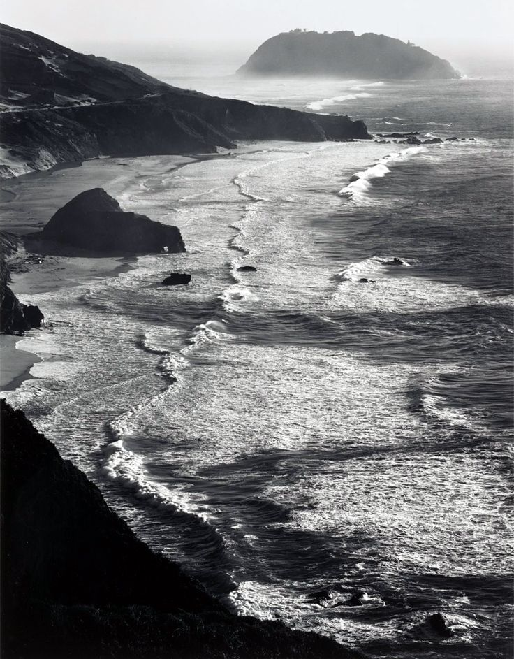 "Ansel Adams, ""Storm,"" Point Sur, Monterey coast CA, 1942"
