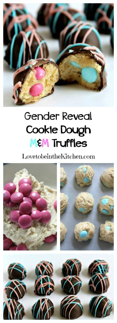 Gender Reveal Cookie Dough M&M Truffles- A fun and yummy way to announce the gender of a baby without saying a word!