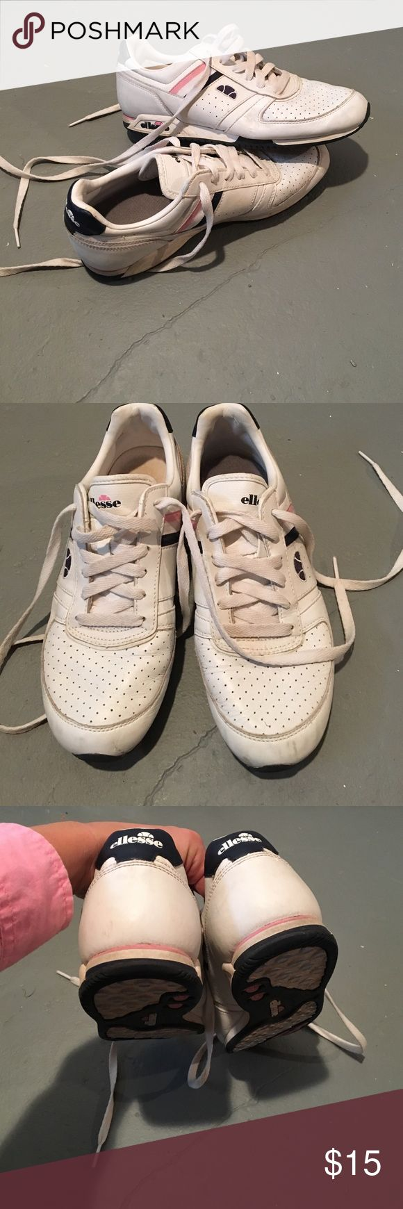 Ellesse white tennis cheer classic sneakers Amazing quality sneakers, non-marking soles with plenty of life left. Shows wear, see pictures. Navy pink and white grosgrain ribbon detail Ellesse Shoes Sneakers