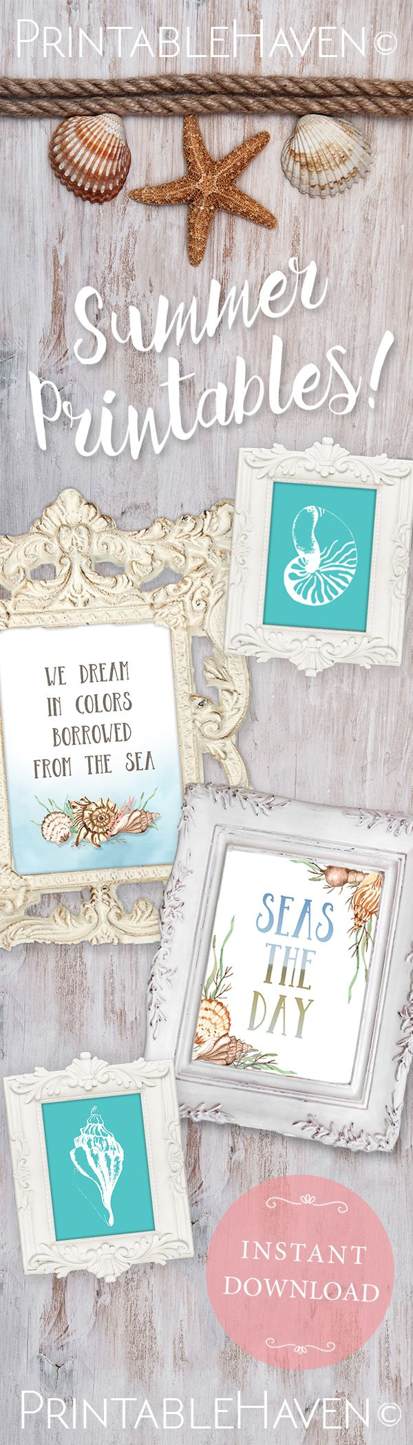 Fun printables for the summer! Beach and shell themed printables, find them here: https://www.etsy.com/shop/PrintableHaven